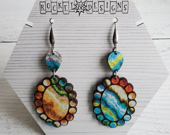 Colorful Psychedelic Rainbow Gem Oval WOOD Dangle Earrings Laser Cut Jewelry Unique Gift Southern Southwestern Geometric Boho Hippy Style