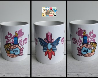 Your Vibe Sucks 11oz Ceramic Drinking Glass Mug Coffee Cup Tea Cup Fortune Occult Magic Witch Craft Butterfly Crystal Geode Mystical