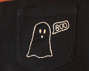 Ghost Hand-Embroidered Pocket Tee Shirt Unisex Long Sleeve