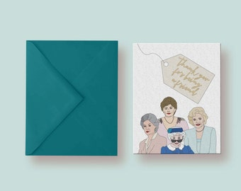 PDF Thank You For Being a Friend Printable Card Instant Download Card Blank Inside Friendship Golden Girls Card