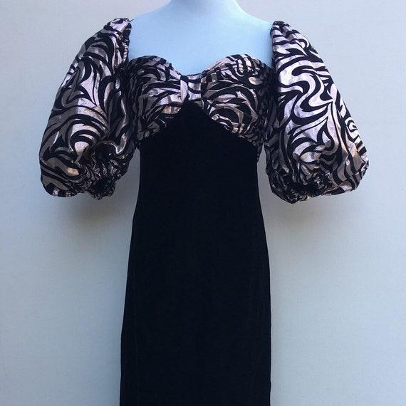 Victor Costa Velvet & Taffeta Gown* Pink and Black