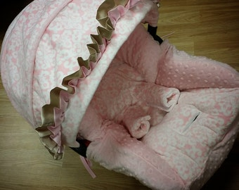 Baby Pink, Damask, Minky, Infant Car Seat Replacement Cover. You choose colors.