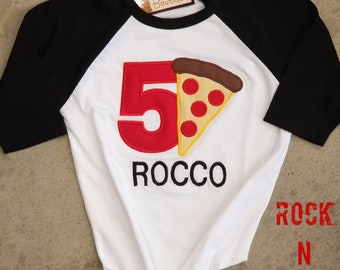 Birthday shirt. Birthday raglan. Custom tshirts. Pizza party. Pizza birthday shirt. Pizza raglan.