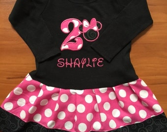 Minnie Mouse Dress. Hot Pink. Black. Personalized. LONG SLEEVE