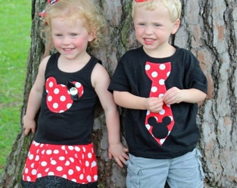Minnie Mouse Dress, Mickey Mouse Tie Shirt, Sibling Set.