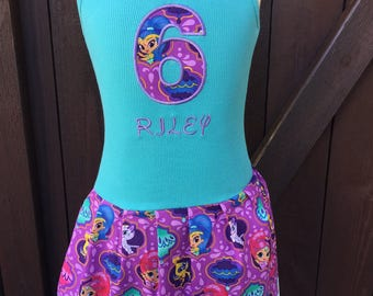 Custom Girls Dress. Shimmer & Shine Inspired.