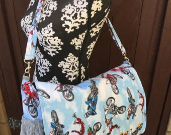 Diaper bag. Messenger style, converts to backpack. Dirt Bike. Motocross.