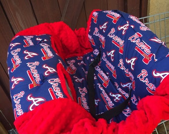 Atlanta Braves Shopping Cart Cover. Braves high chair cover. Baseball shopping cart cover. Baseball high chair cover. READY TO SHIP