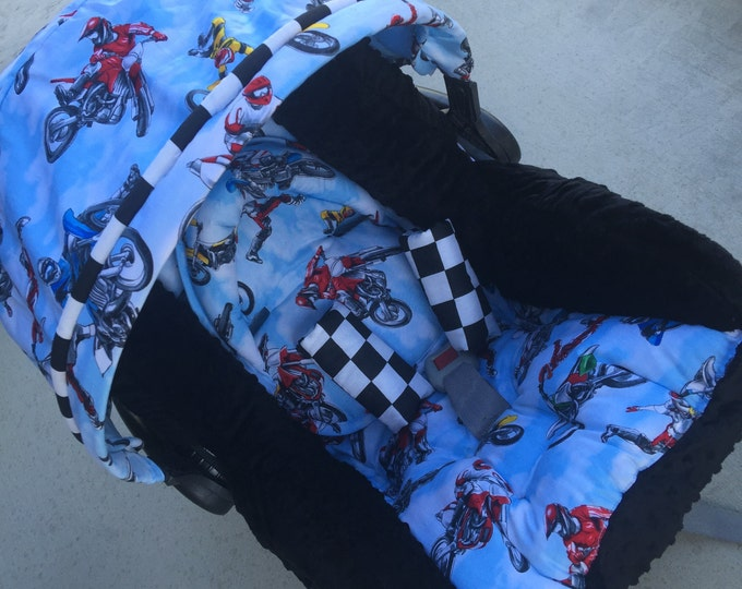 Featured listing image: Infant Replacement Car Seat Cover. Dirt bike car seat cover.