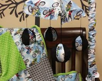 Crib Mobile. Custom your own. You choose fabric. Dirtbikes.