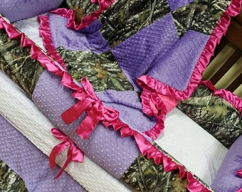 Pink, Purple, True Timber, Camo, Crib Set. You design. Several Colors Available.