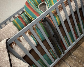 Aztec baby bedding. Southwestern baby bedding. Serape baby bedding. Aztec crib set. Baby girl bedding. Baby boy bedding. Aztec nursery decor