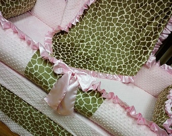 Giraffe Crib Set. Giraffe Sand, Baby Pink. Minky. Several Colors Available.