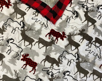 Baby blanket. Woodlands blanket. Deer minky blanket. Buck Minky blanket. Moose baby blanket. Baby boy blanket