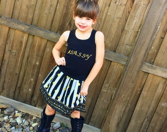 Sassy, gold, black, dress. glitter dress, gold dress, cheetah dress