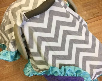 Infant carseat canopy tent. Ruffle border.