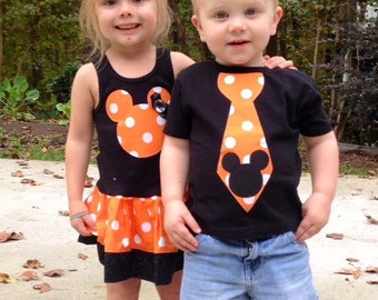 Minnie Mouse Dress, Mickey Mouse Tie Shirt, Sibling Set. ORANGE polka dot