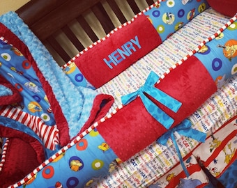 Custom, Handmade. Dr. Seuss Crib Set.