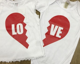 LOVE, Shirt Set. Several colors & sizes available.