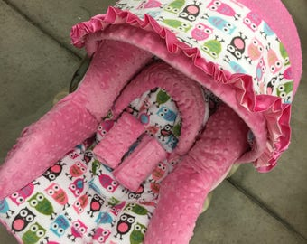 Owls, Minky, Infant Car Seat Replacement Cover. You choose colors.