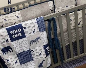 Baby boy crib bedding. Wild Child baby bedding. Giraffe baby bedding. Elephant Baby bedding. Safari baby bedding.