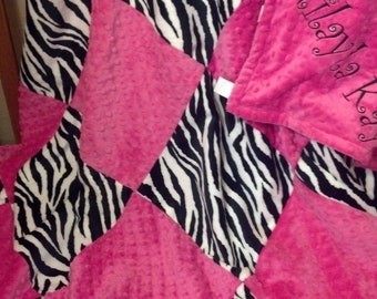 Baby blanket. Minky Baby Blanket. Zebra Baby Blanket. Baby Shower Gift