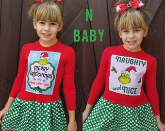 Girls Christmas Dress. Naughty and Nice.