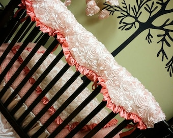Satin Rosette. Scalloped. Crib, Teething, Rail Guard.