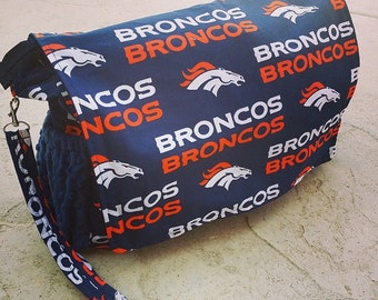 Diaper bag. Messenger style, converts to backpack. Denver Broncos