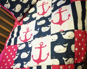 Whale, Anchor, Crib Set. You design. Several Colors Available.