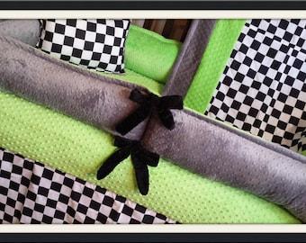 Baby Boy Crib Bedding. Checker Baby Bedding. Checkered Flag Crib Bedding. Off Road Nursery. Dirt Bike Nursery. Checkered Nursery