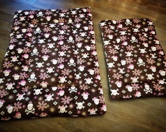Minky Pet Bed. Minky Dog Bed. Pet Crate Pad. Minky Cat Bed. Brown Floral Skull