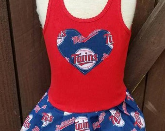 Baseball Dress. Made with Minnesota Twins fabric