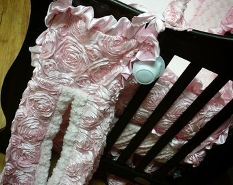 Diaper Stacker. You choose fabrics.  Baby Pink Satin Rosette.