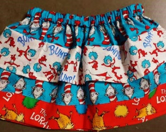 Book Character Skirt. Made with Dr. Seuss Fabric.