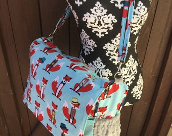 Fox Diaper bag. Messenger style, converts to backpack.