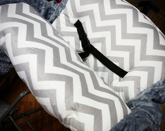 Grey Chevron, Grey, Minky, Shopping Cart Cover. Several other colors available to choose from.