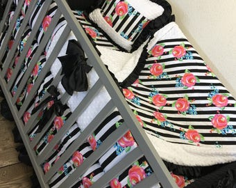Floral. Stripe. Crib Set.