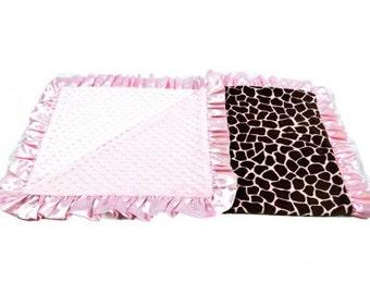 Pink Giraffe, baby blanket.