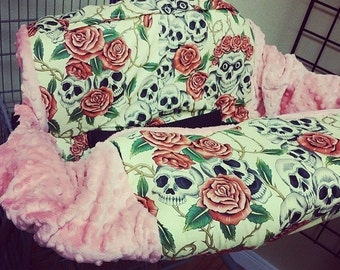 Tan, Rose, Skull, Coral Minky, Shopping Cart Cover. Several colors to choose from