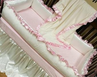 Ivory, Baby Pink, Satin, Minky, Crib Set