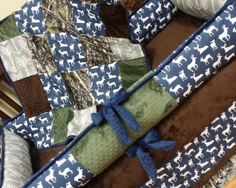 Navy. Stag, Deer Head, Natural, Arrow, Hunter, Crib Set. You design. Several Colors Available.