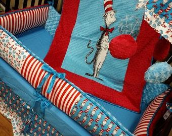 Custom, Handmade. Dr. Seuss Crib Set.