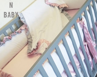 White Minky Baby Bedding. White nursery. White crib set