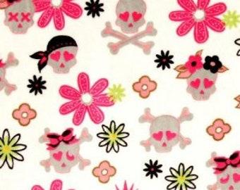 Skull Minky. White flower skull minky. Shannon Fabrics. Minky Fabric. Girly skull minky. Skull minky fabric