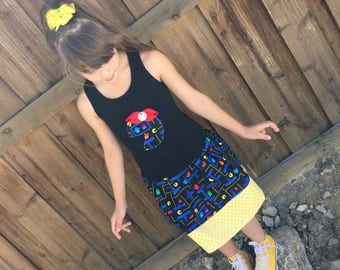 Girls Custom Dress. Created with video game fabric.