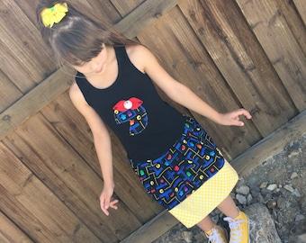 Girls Custom Dress. Created with video game fabric.