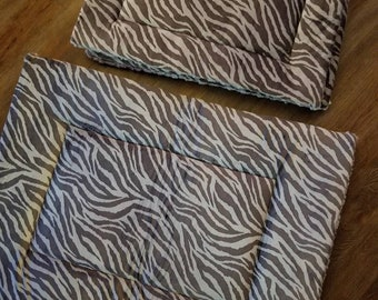 Minky Pet Bed. Minky Dog Bed. Pet Crate Pad. Minky Cat Bed. Grey Zebra