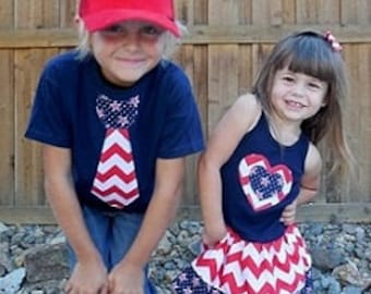 Patriotic Dress, Patriotic Tie Shirt, Sibling Set.