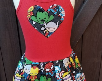Super Hero, DRESS. Made with Kawaii fabric.